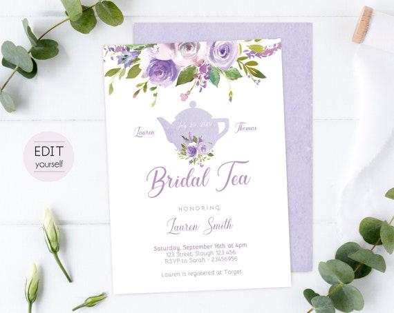 Bridal Tea Editable Invitation, Bridal Shower Printable, Lilac Purple Floral, DIY Bridal Tea Invitation Lilac Purple Tea pot, Corjl