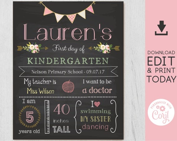 Back to School Sign, First/Last Day of School Sign Editable, Gold Pink Chalkboard, Chalkboard Sign, INSTANT DOWNLOAD, Corjl