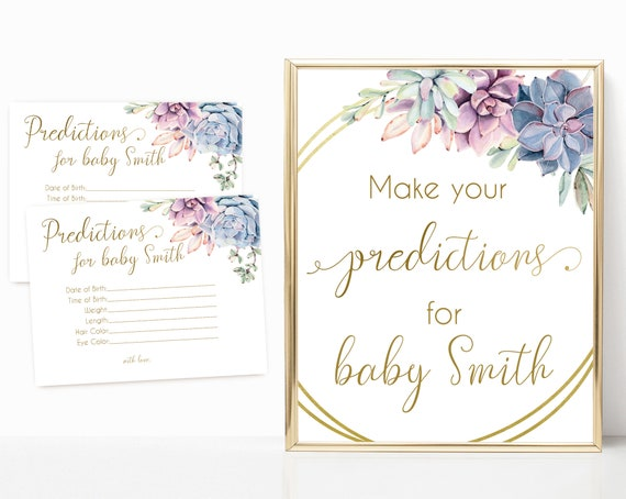 Editable Predictions for baby sign, Editable Predictions Cards, Baby Shower Sign Printable, Succulents Lilac Blue Pink, Baby Shower
