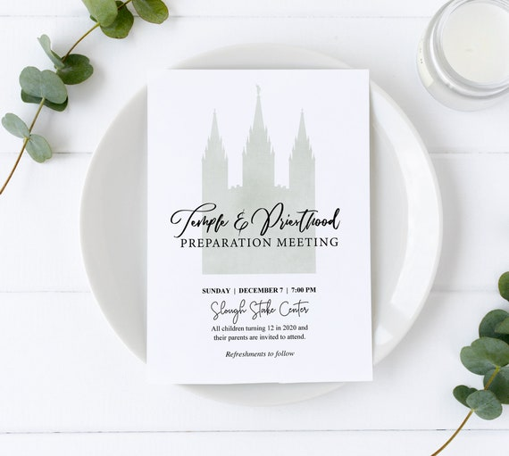 Temple and Priesthood Preparation Meeting, EDITABLE Invitation Printable, LDS invitation, LDS Primary, Instant Download, Temple invitation