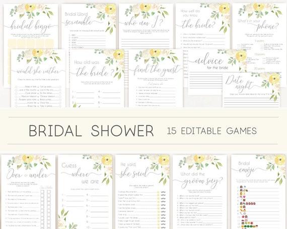 Bridal Shower Games, Bridal Shower Games Bundle, Romantic Yellow White Flowers, Editable Games, Wedding Shower Games, Yellow games bundle