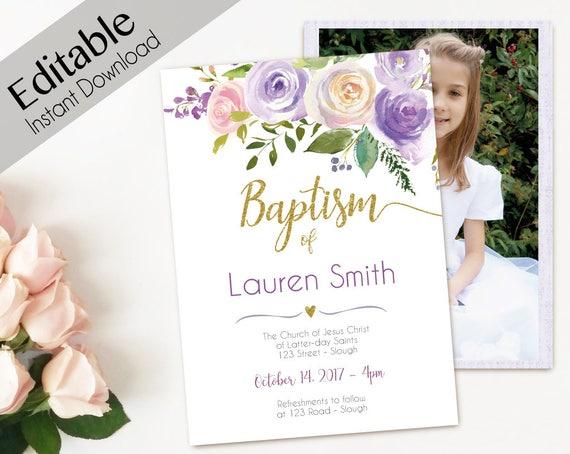 Baptism Invitation Girl, Editable PDF, Girl Invitation purple pink gold, Baptism Invite, invitation double side, back side, Baptism template