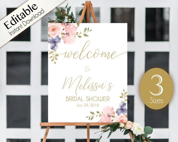 Welcome Sign Bridal Shower Editable PDF ANY EVENT Bridal Baby Wedding Baptism Birthday Sign dusty blue rose Floral Gold Editable Sign