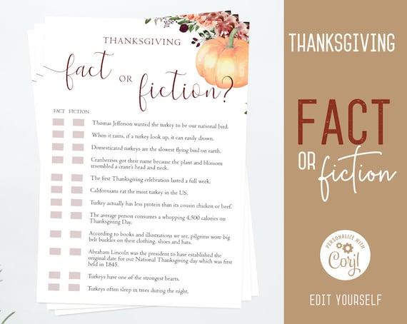 Thanksgiving Trivia Game, Editable Thanksgiving Trivia, Friendsgiving game Fact or Fiction Thanksgiving printable, Thanksgiving games, Corjl
