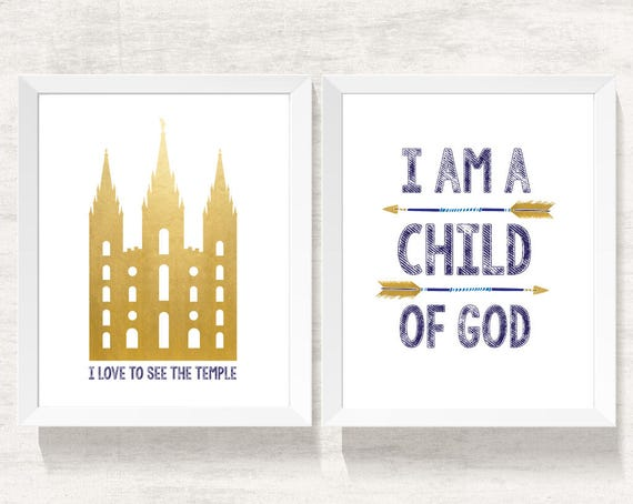 Set of 2 print boy, I am a child of God, lds Temple, Instant Download Printable LDS Gift Art print Boy room decor, navy and gold, arrows