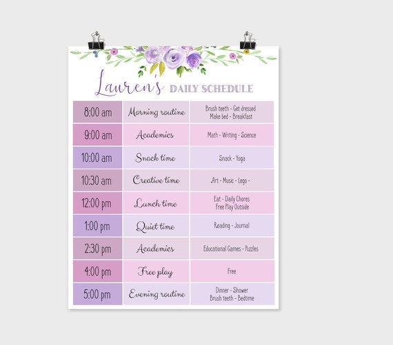 Editable Home School Daily Planner, Editable Daily Routine Schedule, Purple Flowers Routine Schedule Chart, Daily Homeschool Planner, Corjl