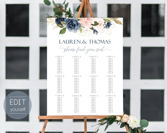 Wedding Seating Chart Template, 7 templates, Editable Wedding Table Seating Chart Poster Sign, PDF Instant Download, navy blush gold flower