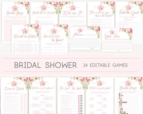 Bridal Tea Games, Romantic Blush Bloom Pink Editable Bridal Shower Games Package Set Bundle, Editable games, Bridal Tea Games, Tea pot