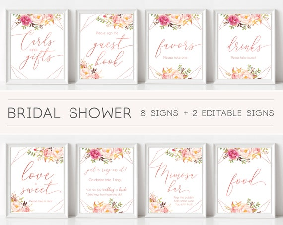 Bridal Shower Sign Set, Bridal Shower Sign Package Bundle, Romantic Blush Rose Flowers Geometric, Editable Sign 5x7 8x10, Corjl