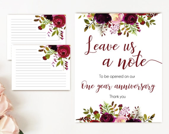Leave a note wedding, Burgundy Boho Marsala Flowers, Printable leave a note for the bride and groom cards and sign, Wedding note card