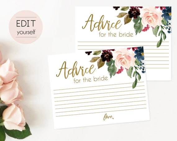 Bridal Shower Advice Card, Advice for the bride and groom, Instant Download, Blue Navy Marsala Burgundy Blush Gold