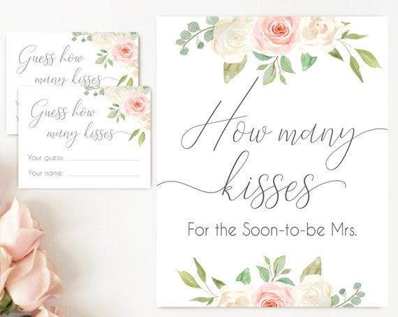 How many kisses for the soon to be Mrs, Blush White Pink How many kisses cards and sign Bridal Shower How many kisses card, instant download
