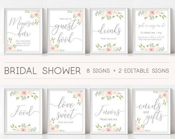 Bridal Shower Sign, Bridal Shower Sign Package Bundle, Printable Bridal Tea Sign, Romantic white blush pink Rose Floral Sign, Editable Sign