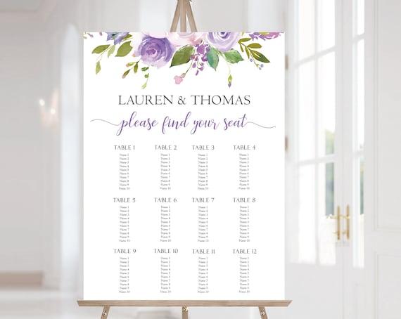 Wedding Seating Chart Template, Wedding Table Seating Chart Poster Sign, Lilac Seating Chart, Lilac Purple Flowers, Corjl