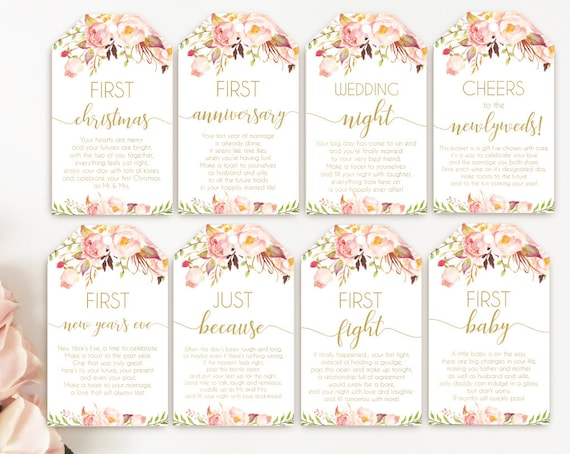 Printable Bridal Shower Wine Tags with Poems for Wedding ...