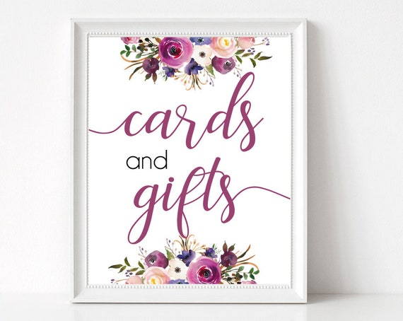 Cards and Gifts sign, Purple Lavender, Cards sign, gifts sign, Bridal Shower table sign, instant download, Wedding Gifts, Baby Shower sign