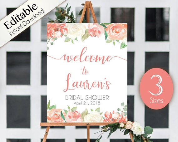 Welcome Sign Bridal Shower Template, Editable PDF, ANY EVENT, Bridal Baby Wedding Baptism Birthday Shower Sign, Peach watercolor flowers