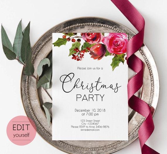 Christmas Invitation template, Christmas Invite Editable Christmas Party template, Editable Christmas Invitation, Holiday Party Invitations