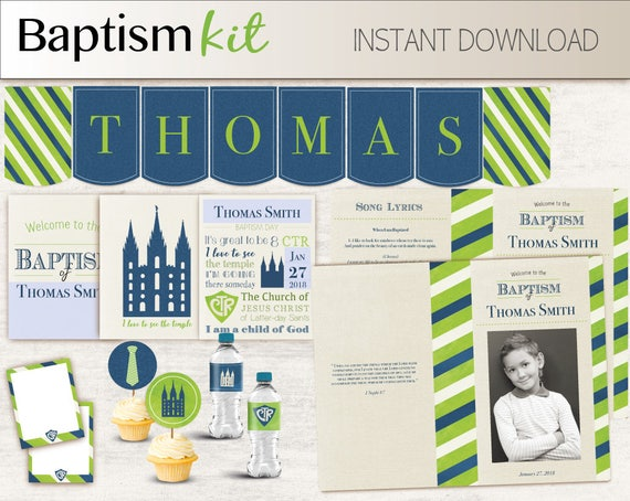 Baptism Boy Kit - Editable LDS Baptism Program, Cupcake Toppers, Water Bottle Wraps, Note Card, Poster Baptism, Navy Blue Lime Green
