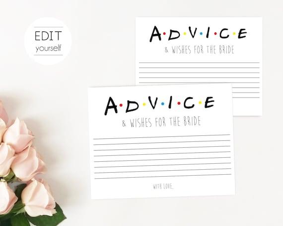 Friends Tv Show Advice Cards, Editable Bridal Advice card, Bachelorette game, Friends Theme, Bridal Shower Advice, Friends Advice Cards
