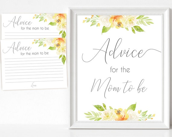 Advice for the Mom to be Sign, Advice Cards, Baby Shower Sign Printable, citrus floral, green yellow flower, Baby Shower, Instant Download