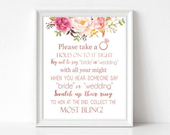 Don't Say Bride or Wedding, Bridal Shower Games Printable, don't say bride game, Romantic Blooms Rose Floral Rose Gold, INSTANT DOWNLOAD