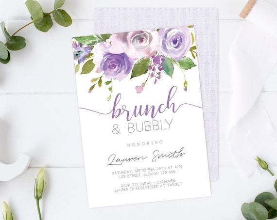 Brunch & Bubbly Invitation, Editable Invitation, Brunch Bubbly Printable, Floral Brunch, lilac lavender watercolor, DIY Template, Corjl
