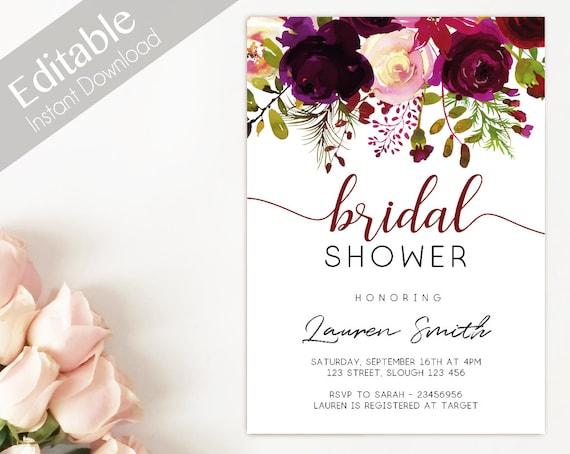 Bridal Shower Invitation, Editable PDF, Bridal Shower Printable, Burgundy boho marsala flower watercolor, Bridal floral Invitation Template