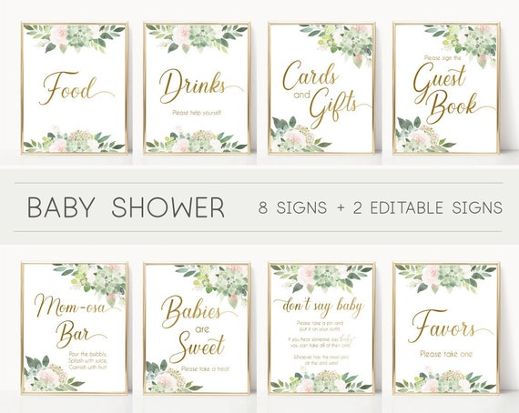 Baby Shower Sign Set, Baby Shower Sign Package Bundle, Baby Succulent Signs, Editable Sign, Baby shower Succulent Greenery and gold