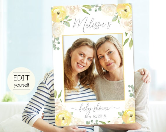 Baby Shower Photo Booth Frame, Photo Prop Frame, Photo Booth Prop, Instant Download, Editable PDF, Romantic White Yellow Floral