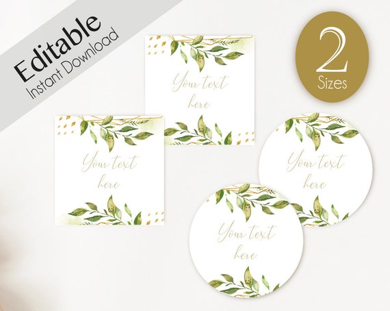 EDITABLE Label, Tag Mimosa Bar Juice Tags, Bar Drink Tags Editable Labels Bridal Shower Decoration greenery gold, green floral green leaves