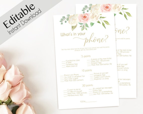 Bridal Shower game, Baby Shower Game, What's in your phone Editable PDF Bridal Shower Romantic Blush Pink White Flowers Gold, Editable Game