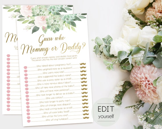 Guess Who Mommy Or Daddy, Baby Shower Game, Template Guessing Game Mommy Said Daddy Said, Guess Who Mommy or Daddy, Succulent and gold