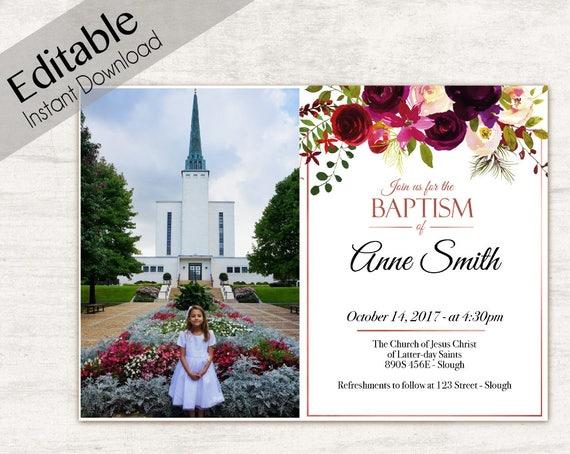 Baptism Invitation Girl, Editable PDF, Girl Invitation Burgundy Wine watercolor, Baptism Invite, Photo, Girl Baptism Template