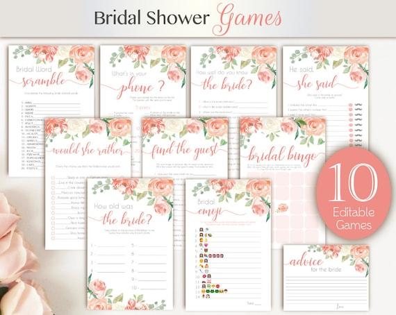 Bridal Shower Games Peach Floral, Editable Bridal Shower Games Package, Floral Bridal Shower, Watercolor Floral, Bridal Shower Set Bundle