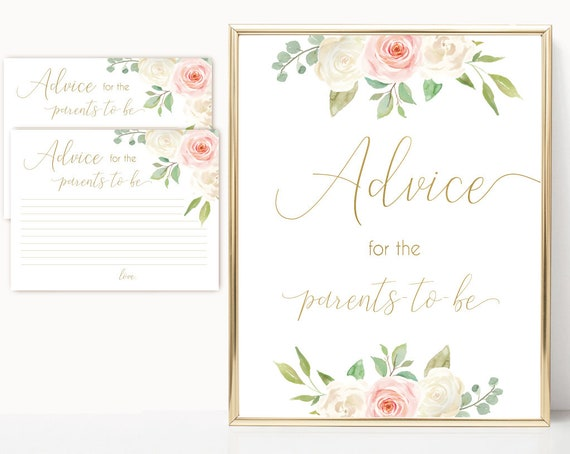 Advice for the parents to be Sign, Advice Cards, Baby Shower Sign Printable, Romantic Blush Pink Floral Gold, Baby Shower, Instant Download