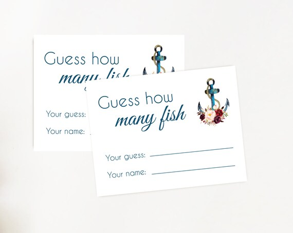 Nautical Bridal Shower Game, How many fish game, Floral Anchor, Burgundy Blush Anchor Bridal Navy Nautical, how many fish cards