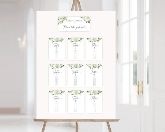 Wedding Seating Chart Template, PDF Editable Wedding Table Seating Chart Sign, PDF Instant Download, Succulents Greenery Flower
