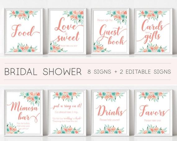 Bridal Shower Sign Set, Bridal Shower Sign Package Bundle, Printable Bridal Tea Sign, Peach Mint Turquoise Floral Sign, Editable Sign