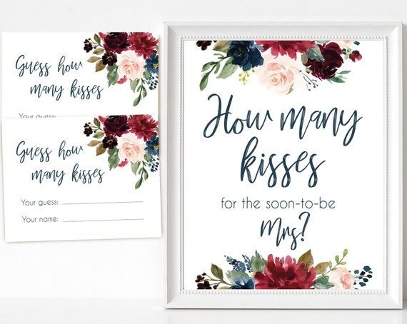How many kisses for the soon to be Mrs, Blue Navy Marsala Burgundy Blush Floral, How many kisses cards and sign, How many kisses card