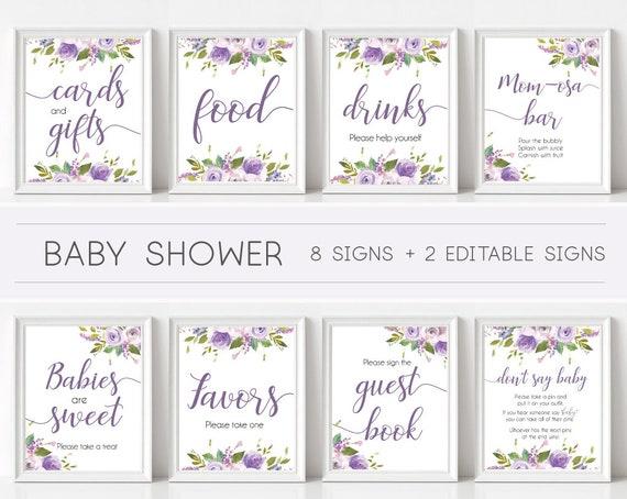 Baby Shower Sign, Baby Shower Sign Package Bundle, Printable Baby Shower Sign, Lilac Lavender Purple Floral Sign, Editable Sign