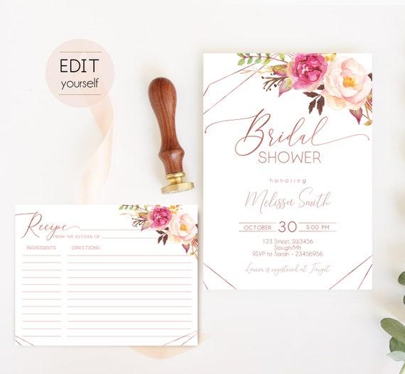 Rose Gold Bridal Shower Invitation, Editable Bridal Shower Invite, Recipe Card Rose Gold, Romantic Blush Rose Flowers Geometric