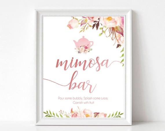 Mimosa Bar Sign, Bridal Tea, Romantic Blooms Rose Floral and Rose Gold, Bubbly Bar sign, Wedding Bar Sign, Bridal tea sign