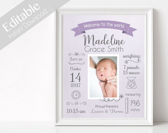 Birth Announcement, Editable BIRTH Stats printable wall art template, Print Sign poster wall art, purple baby girl, instant download