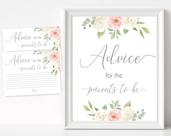 Advice for the parents to be Sign, Advice Cards, Baby Shower Sign Printable, Romantic Blush Pink White Floral, Baby Shower, Instant Download