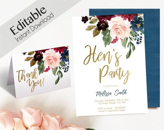 Hen's Party Invitation, Editable PDF, Hens Party Blue Navy Marsala Burgundy Blush Gold ,Thank you Card,  DIY Bridal Invitation Template