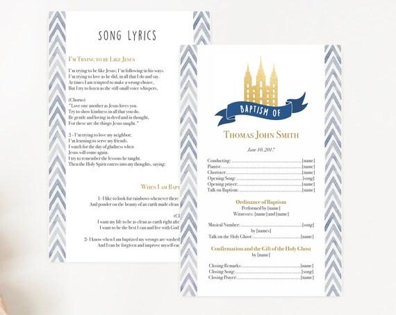 Baptism Program, Editable PDF, LDS Printable Digital Handout Baptism, navy and gold program, watercolor, boy baptism, lds baptism,