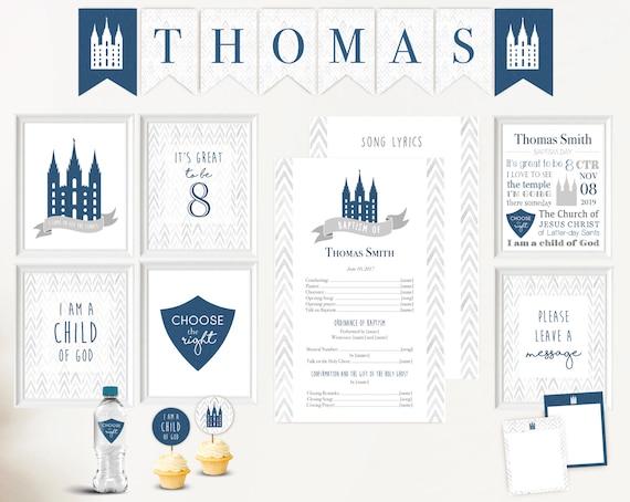 Baptism Boy Kit LDS - Editable LDS Baptism Program, Cupcake Toppers, Water Bottle Wraps, Note Card, Poster Baptism, Instant Download, banner