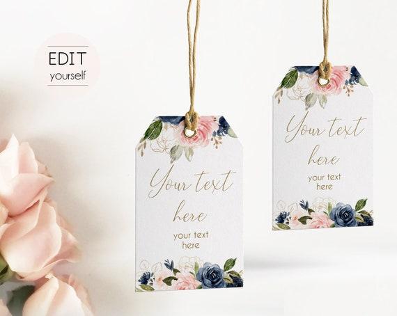 Favor Tag Bridal Shower Template, Editable PDF Wedding tag Bridal Tea Tag Printable, Instant Download, Navy Blush Pink Flower Gold, BG01