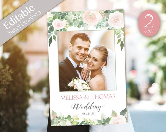 Wedding Photo Booth Frame, Wedding Photo Prop Frame, Photo Booth Prop, Instant Download, Editable PDF, Succulent greenery Dusty Rose Floral